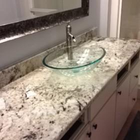 granite bathroom vanity w/ vessel sink