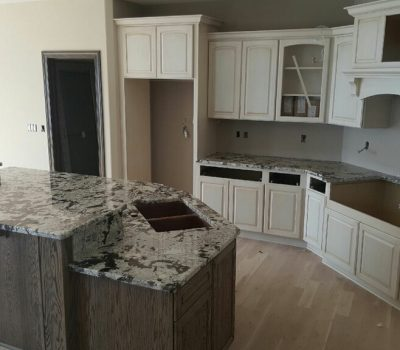 galaxy white kitchen island w/ sink & raised bar.