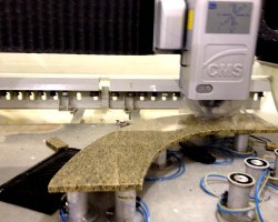 curved granite countertop on cnc machine